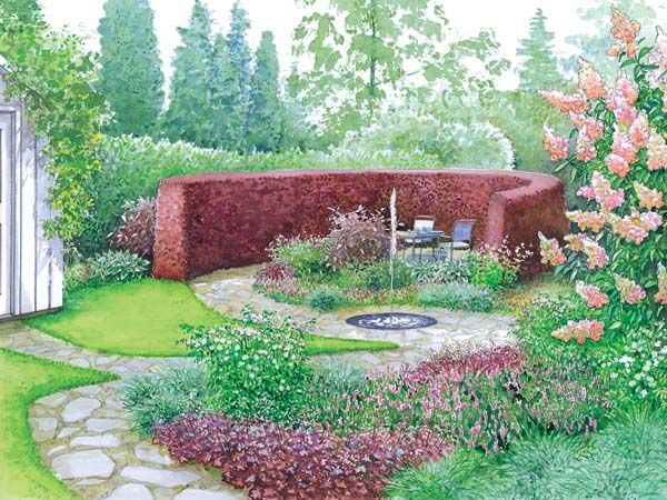 Sheltered patio gives views back through garden over flowers and a - reihenhausgarten vorher nachher