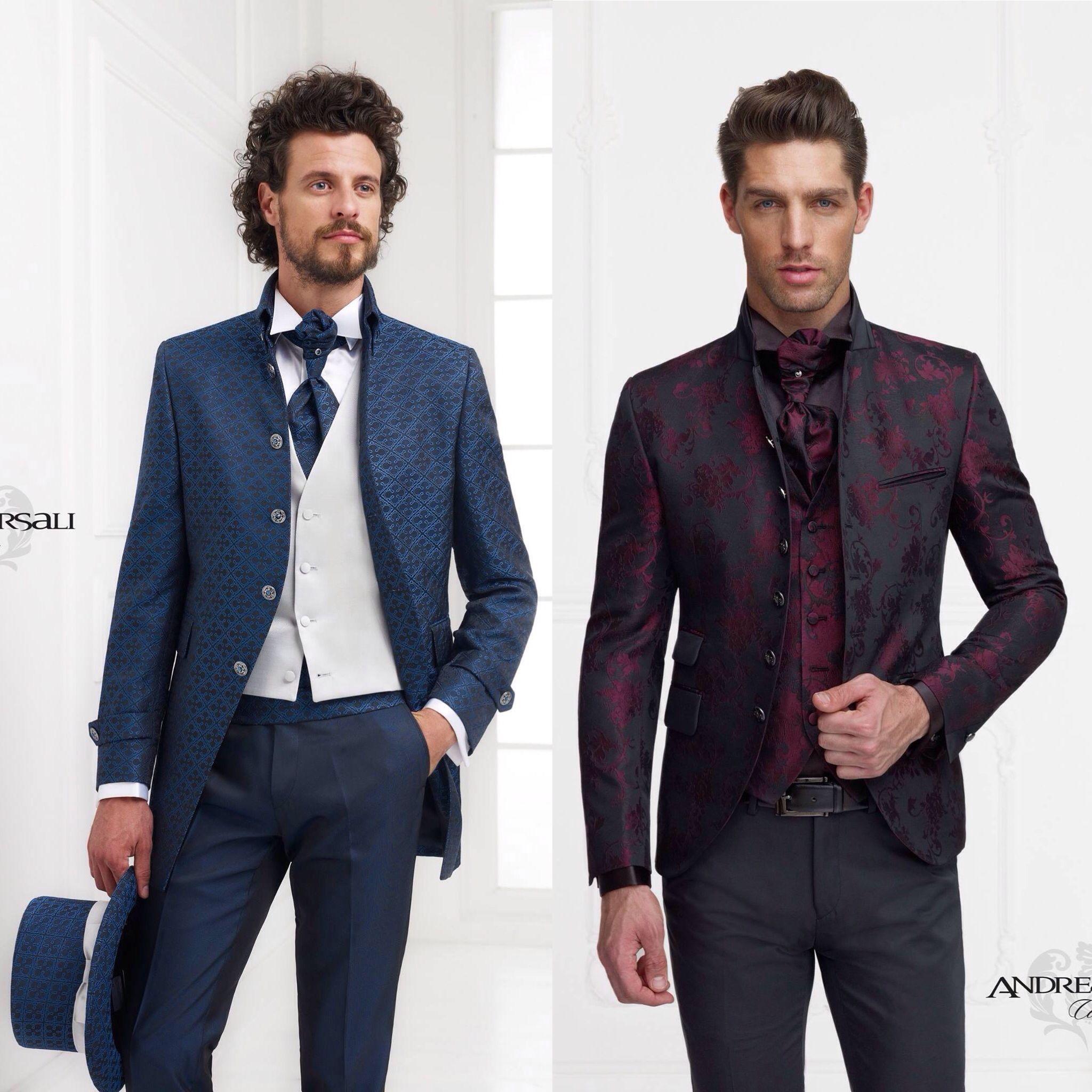 A sinistra giacca in stile Coreana con fantasie di colori nero e Vinaccia.  A destra 0b7a8399166