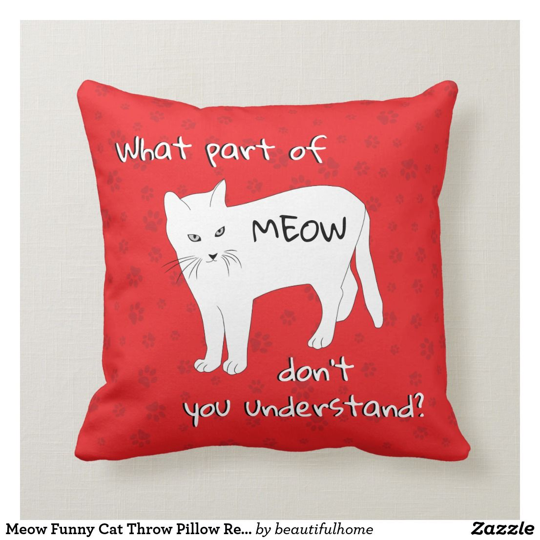 Meow Funny Cat Throw Pillow Red White Black