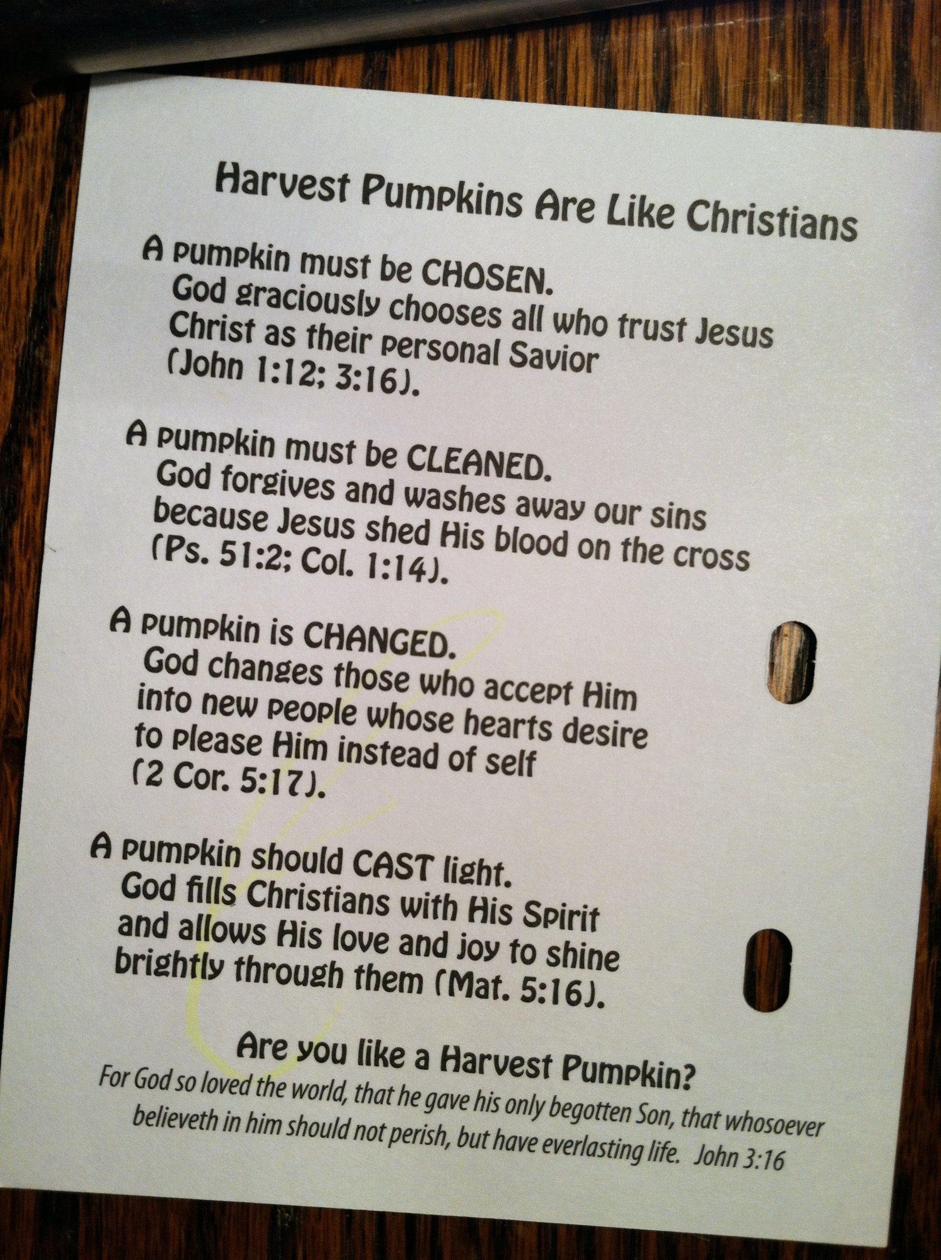 Christians Are Like Pumpkins Devotional