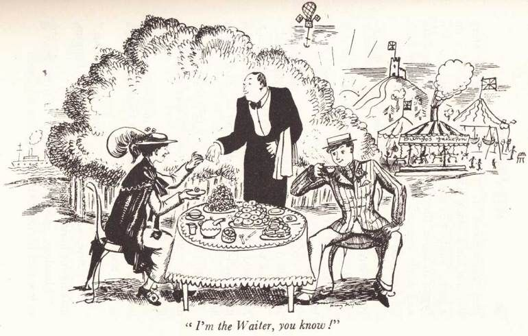 MARY POPPINS-Bert & Mary jump into the chalk drawings and go on a Jolly Holiday: Illustration by Mary Shepard 1934