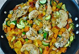 2 c butternut squash 2 Tbs coconut oil 1 lb chicken breast  ½ tsp salt 1 tsp basil 1 tsp rosemary  ½ tsp paprika  ½ tsp dried thyme ¼ tsp garlic powder pepper ¼ tsp celery seeds ½ tsp parsley pinch cumin 3 zucchini 1 onion 4 garlic cloves skillet heat 1 Tbs coconut oil over medium . sauté butternut squash covered till tender. Remove squash. Add remaining Tsp coconut oil. Season chicken w/salt and pepper sear 5 min until brown. Reduce to med/low, add remaining ingredients. cook covered 15…