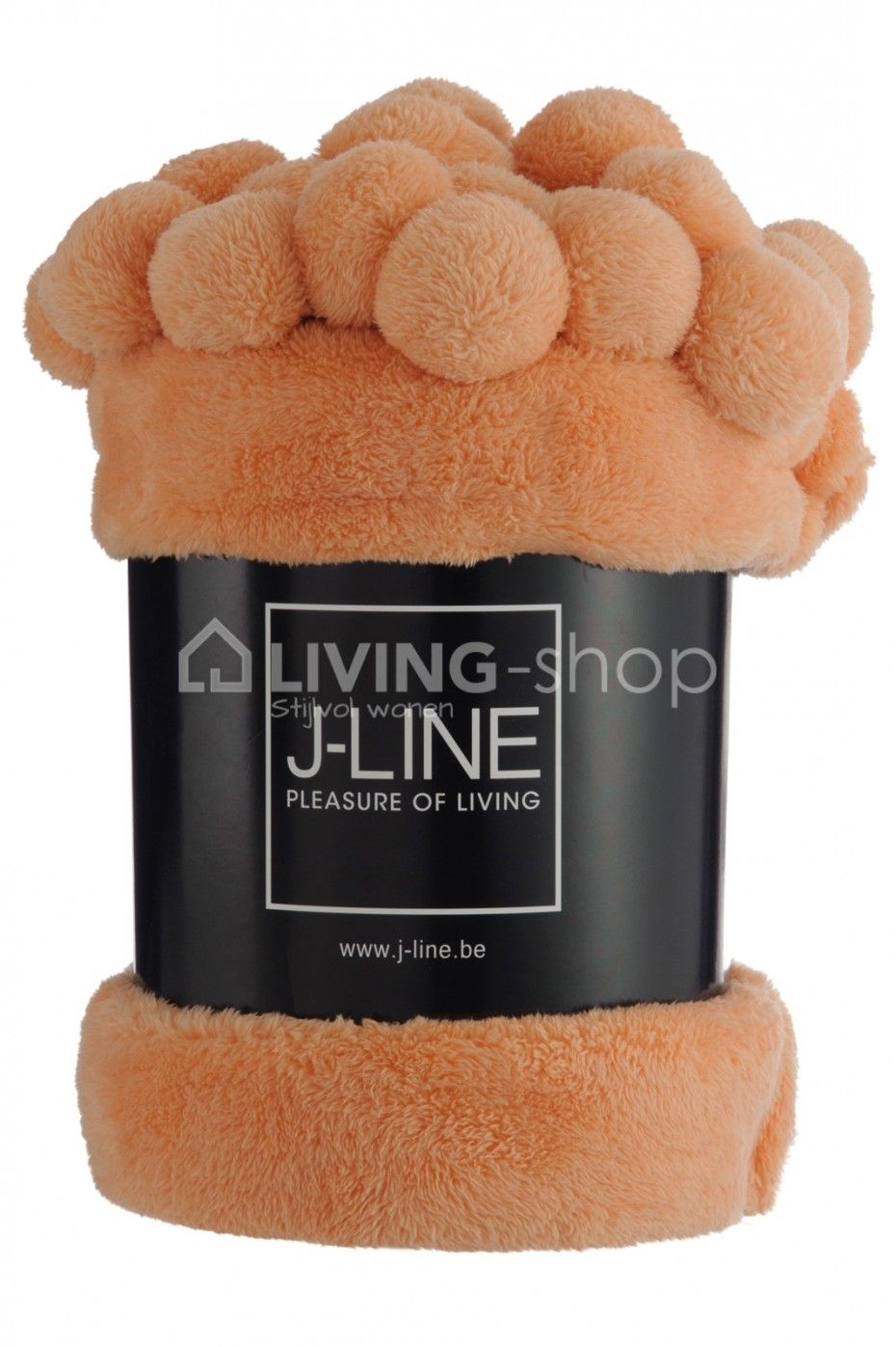 Plaid pompons oranje J-Line webshop LIVING-shop | DECORATIE ...