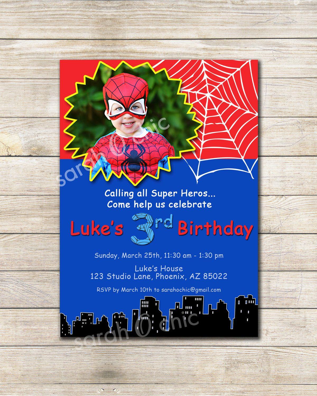 Super Hero - Spiderman Inspired Birthday Party Invitation - sarah O ...