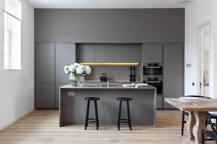 cucina bianca e grigia dal design minimal   Kitchen   Pinterest