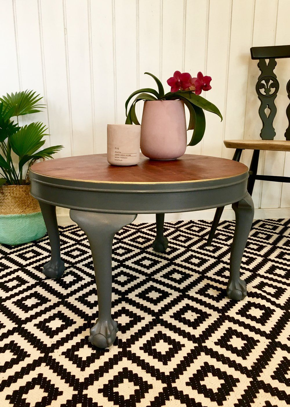 Ball and claw foot grey vintage side table painted