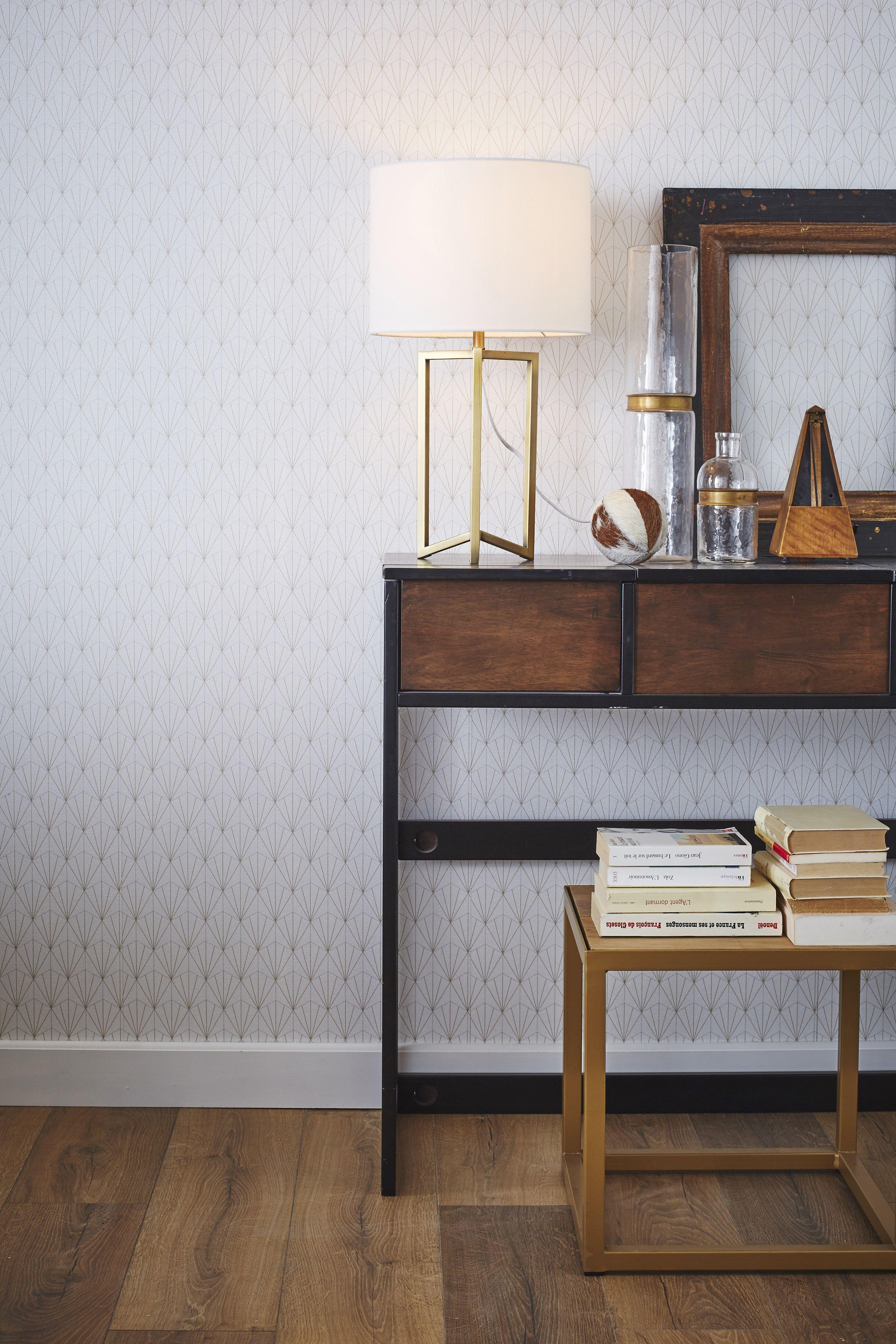 Lampe Sibyl Mathias Synthetique Blanc 23 W Pour Un Entree Qui Fait De L Effet Leroymerlin Lampe Papierpei Papier Peint Art Deco Deco Tendances Deco Salon