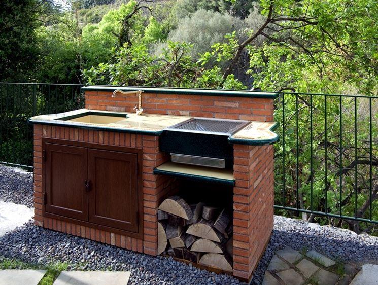 Barbecue in mattoni refrattari e piano appoggio con parete in ...