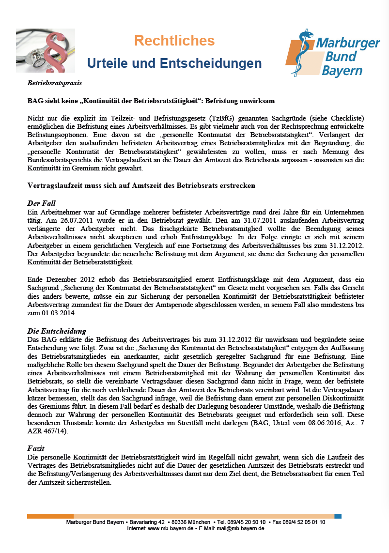 Betriebsratspraxis Bag Sieht Keine Kontinuität Der