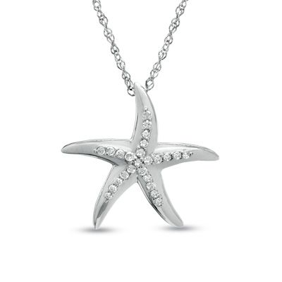 110 ct tw diamond starfish pendant in 14k white gold zales tw diamond starfish pendant in 14k white gold zales mozeypictures Choice Image