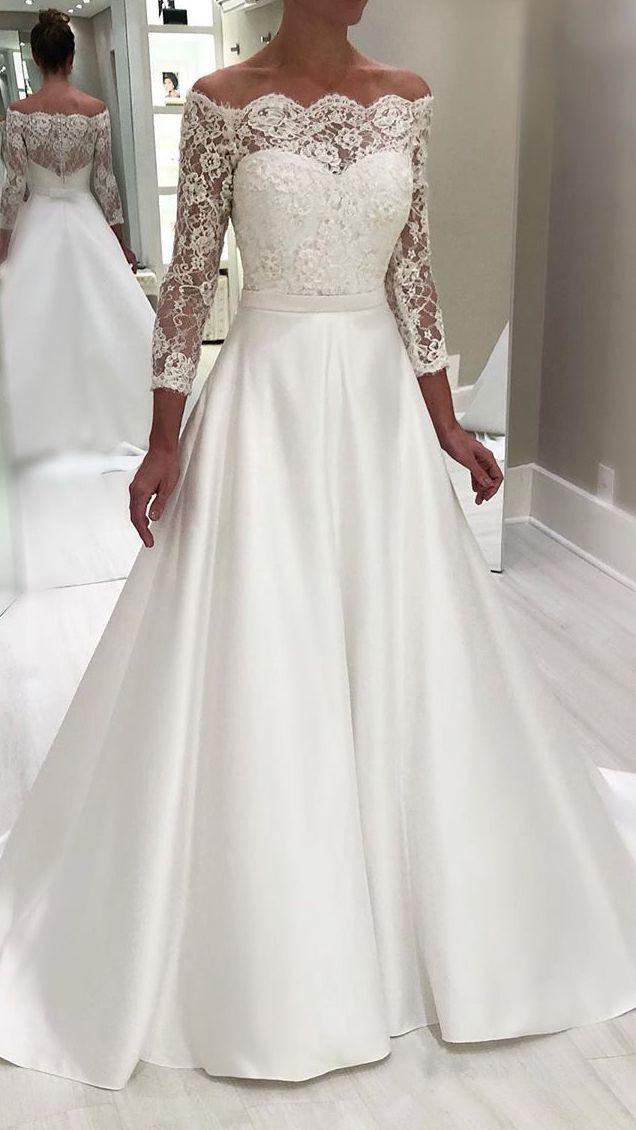Lace Off The Shoulder Sheer Straps Long Sleeve Sweetheart Wedding Dress Wi Elegant Long Sleeve Wedding Dresses Maxi Dress Wedding Guest Wedding Dress Necklines