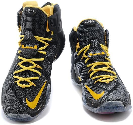 a842d8ca2f666 Nike LeBron 12 Black Yellow For Sale2