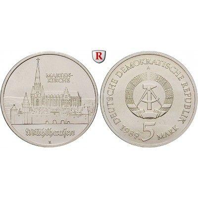 DDR, 5 Mark 1989, Marienkirche Mühlhausen, st, J. 1627: Kupfer-Nickel-5 Mark 1989. Marienkirche Mühlhausen. J. 1627; stempelfrisch… #coins