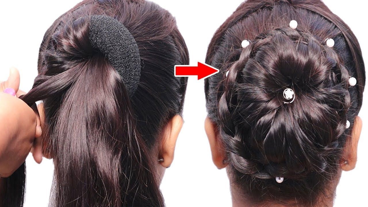 Twist bun hairstyle for wedding/party | trending hairstyle | party hairstyle | hairstyle with ...
