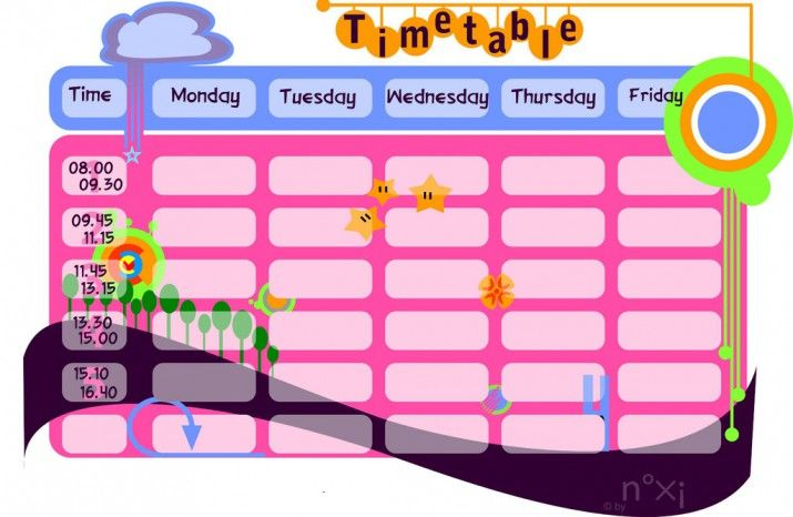 School Timetable Printable Free  Google Search  kola