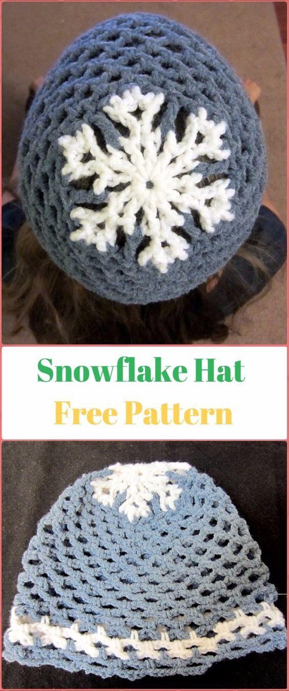 Crochet Let It Snow Snowflake Hat Free Pattern Crochet Christmas