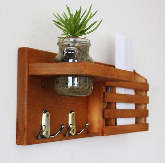 Mail Organizer, Mail And Key Holder, Key Hooks, coat rack, coat hanger, Organizer, pallet furniture, letter holder, mason jar decor