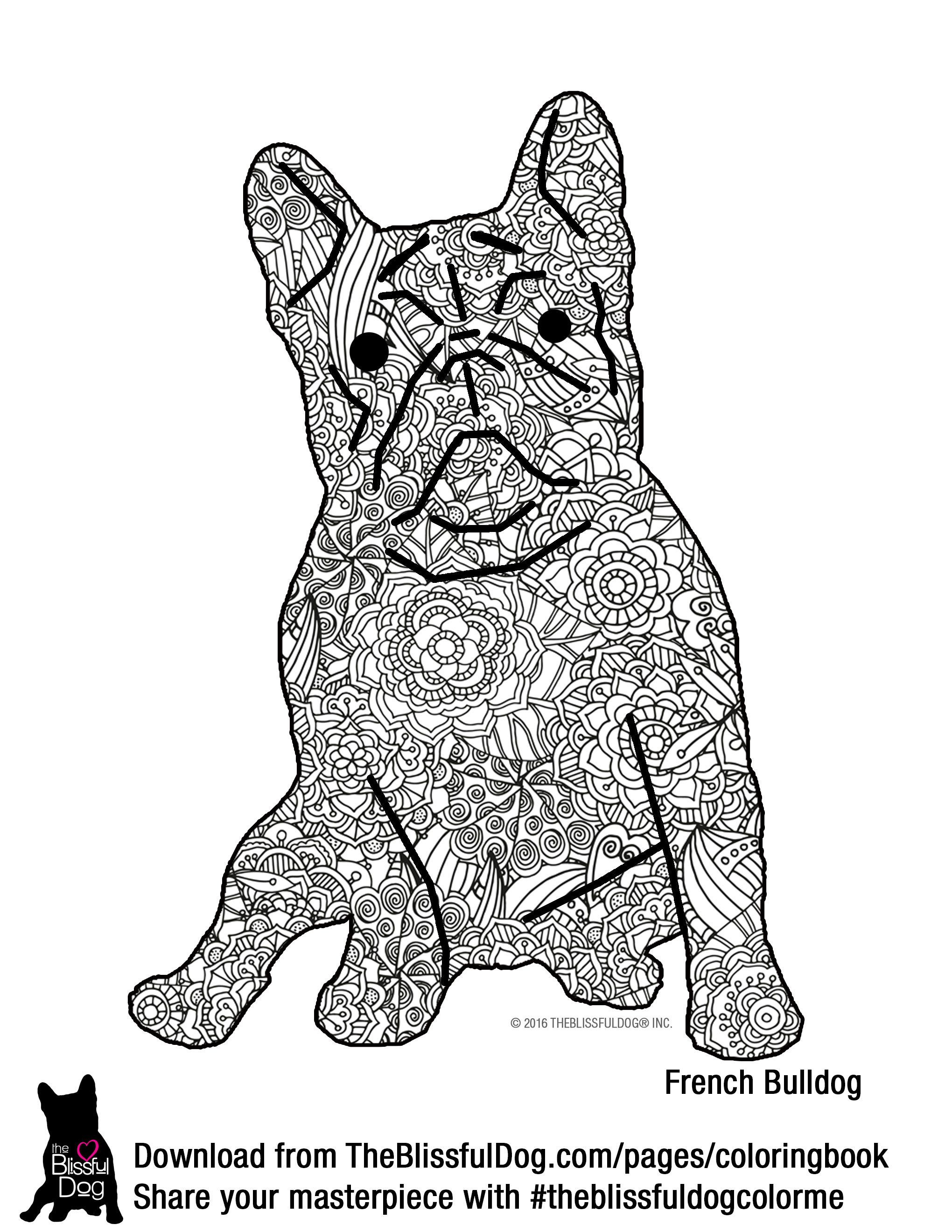 The Blissful Dog French Bulldog Coloring Page Big File So It Will Print On Us Letter Size Paper Send Dog Coloring Book Dog Coloring Page Puppy Coloring Pages