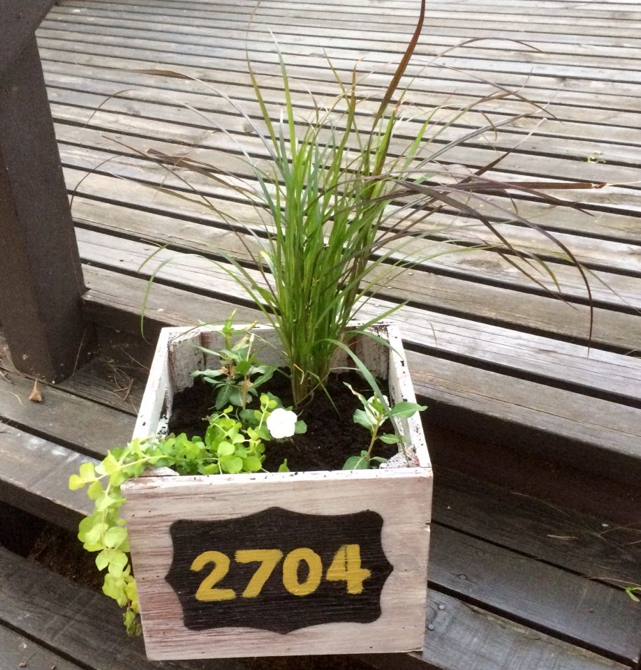 House number planter, exterior paint, flower box Flower
