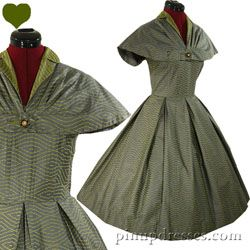 PinupDresses.com Vintage 40s 50s Caped Full Skirt Pleated Party Dress S M #Vintage