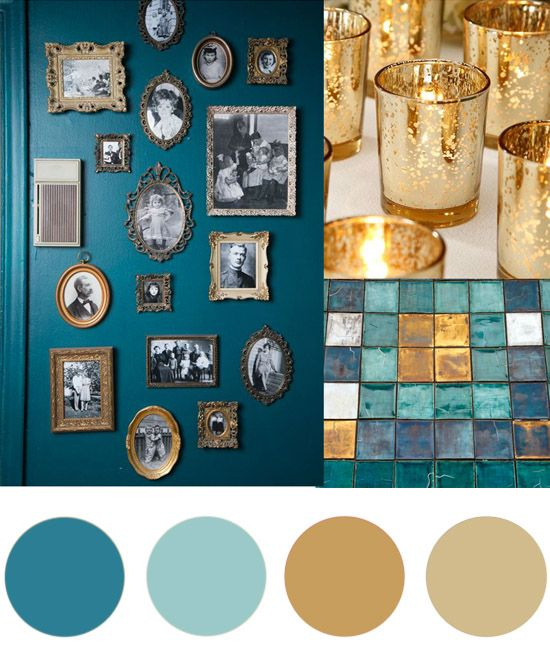 Christmas colour palette teal gold christmas colors for Turquoise color scheme living room