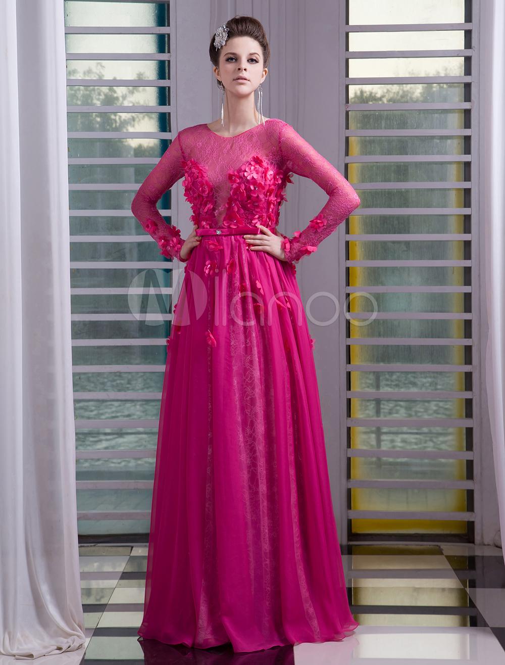07a58d6fc0 Chiffon Evening Dress Illusion 3D Flower Beaded Prom Dress Hot Pink Jewel  Neck Long Sleeves A Line Floor Length Party Dress Milanoo  Prom