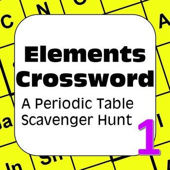 Periodic Table of the Elements Scavenger Hunt Elements Crossword - new periodic table no. crossword