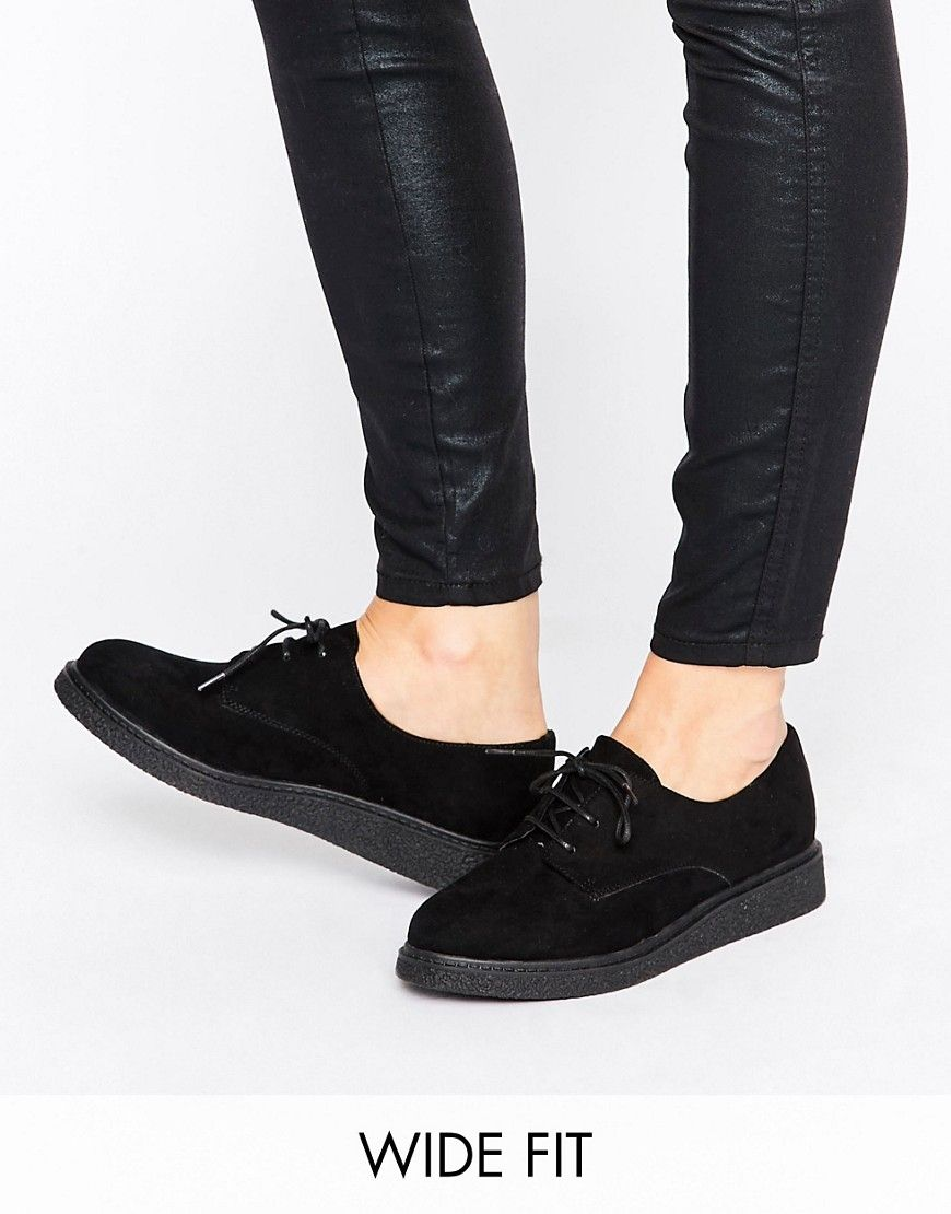 2e74f34407fe7 Image 1 of New Look Wide Flatform Brogue Black Brogues, Black Wedge Shoes,  Black