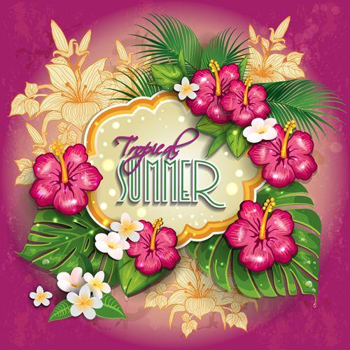 Tropical summer flower frame background vector 02 | Freebie ...