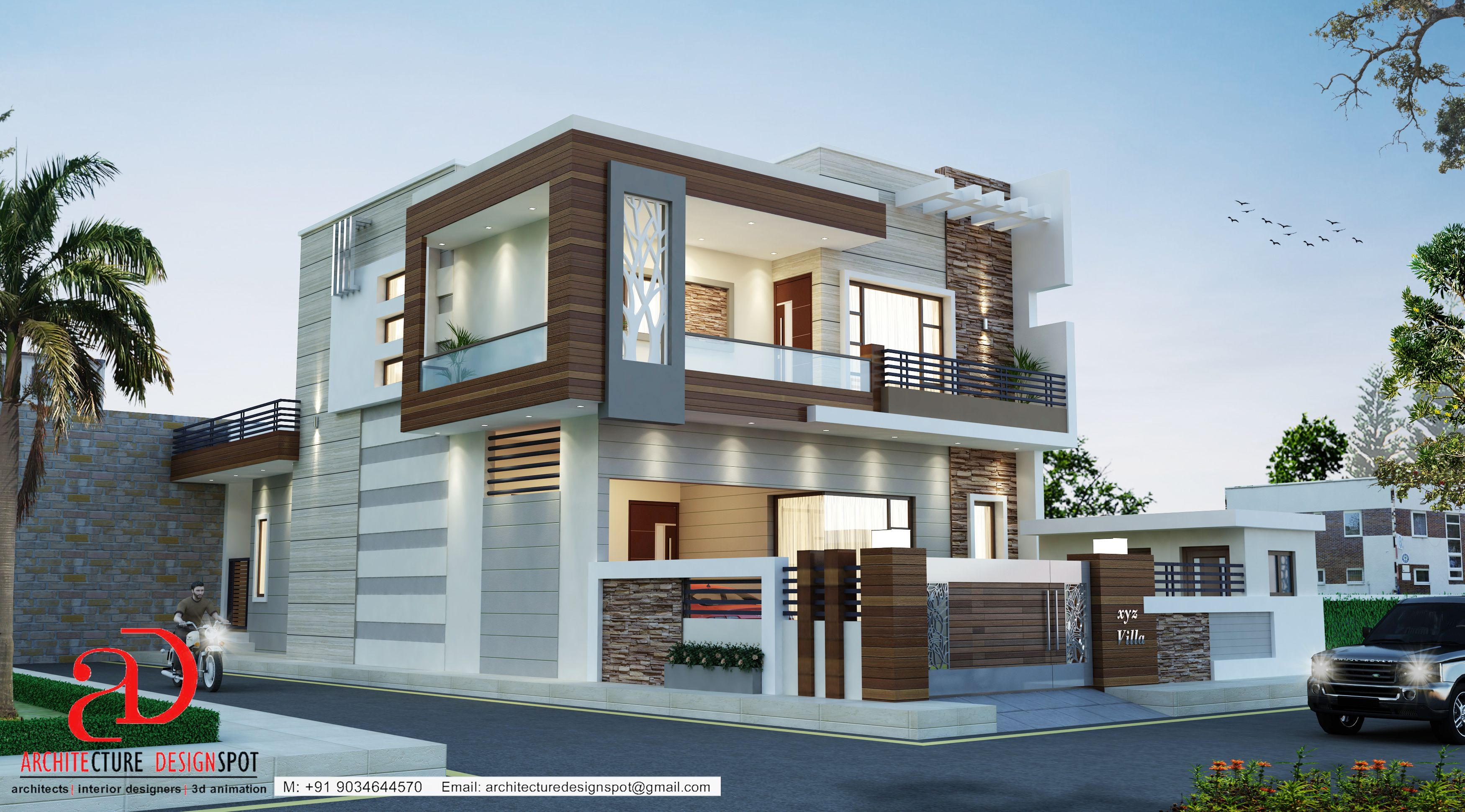 3d View Of A Modern House Architecture Design Spot Architect House House Front Design Duplex House Design