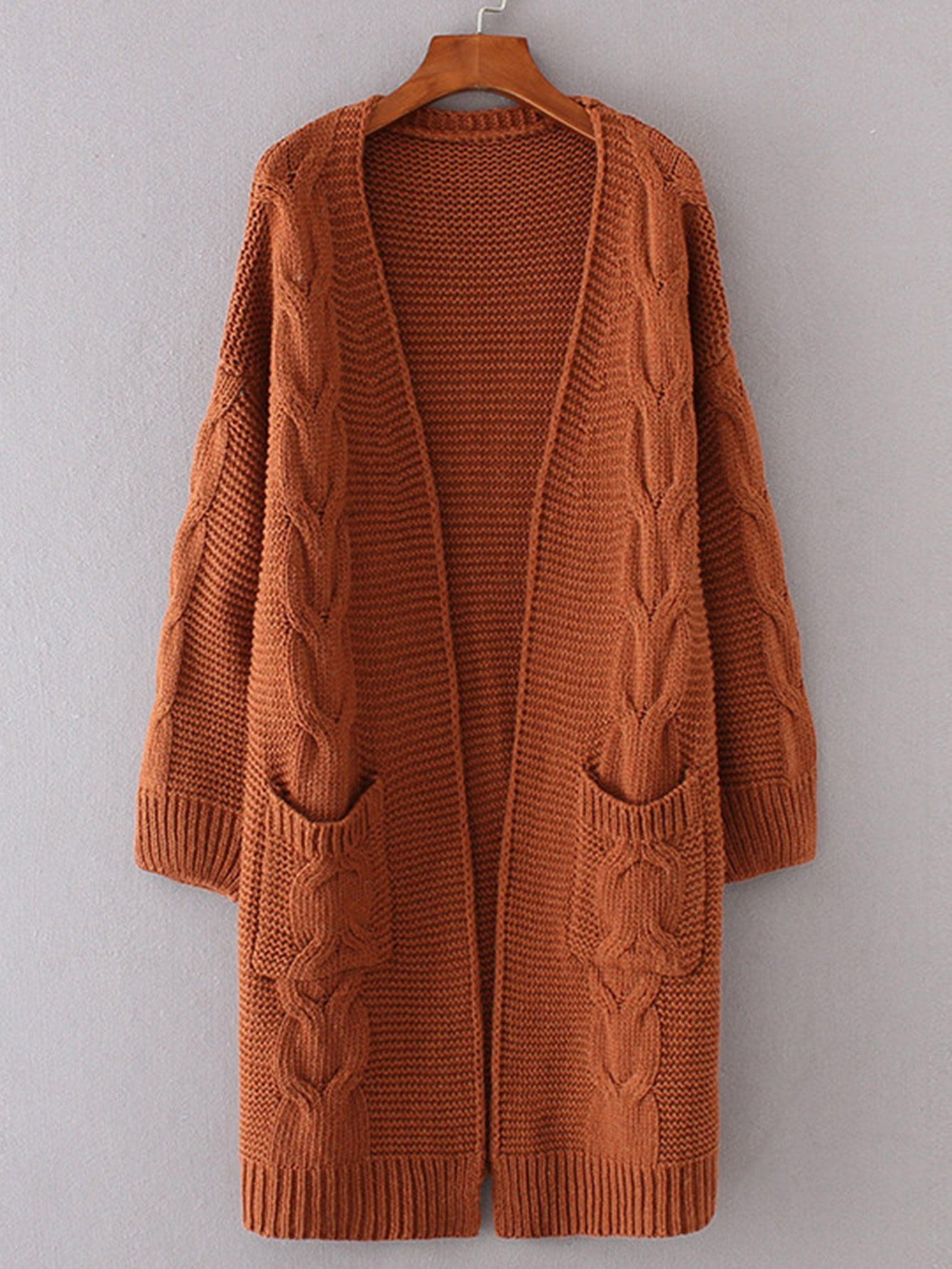 Brown Cable Knit Open Front Dual Pocket Cardigan in 2020