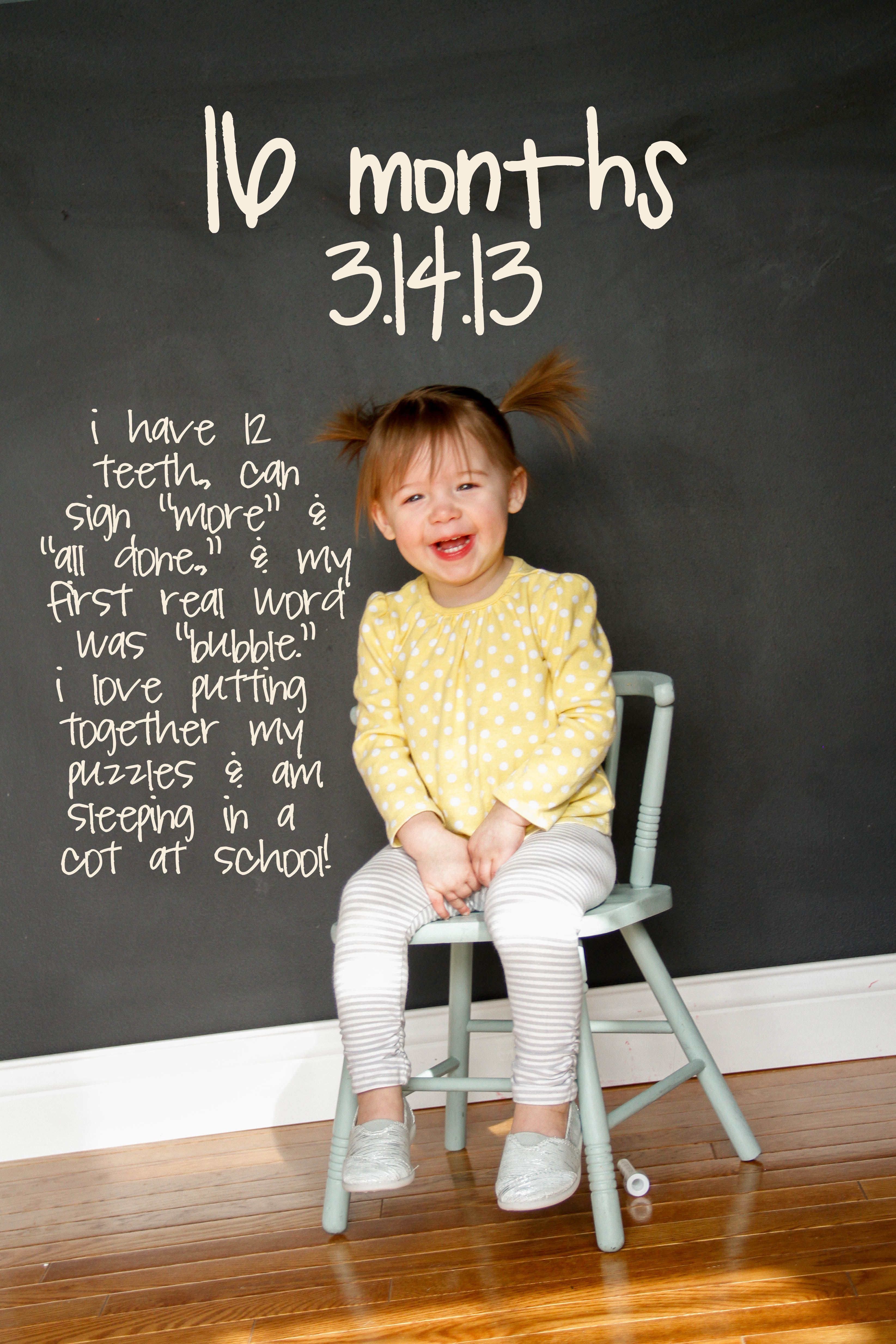 This Parent Has A Neat Idea Mila S Monthly Pics Using The Chalkboard Wall Kids Photos Chalkboard Wall Pics