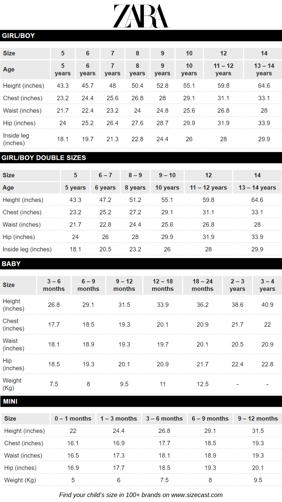 Zara Size Chart Baby Clothes Size Chart Baby Clothing Size Chart