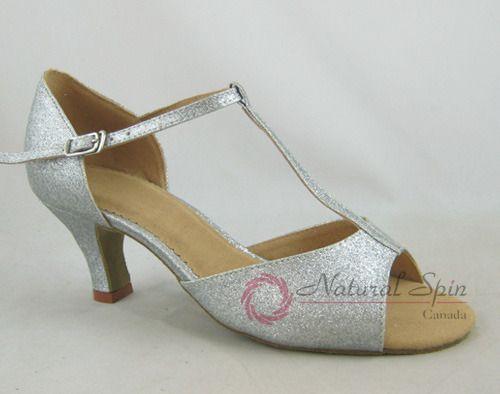 Natural Spin Basic Latin Shoes(Open Toe):  L1102B_SilverGA