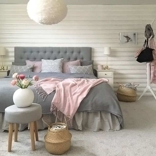 Bedroom Interior Bedroom Blue Grey White Bedroom Design English Style Paper Lantern Bedroom Lighting: A Gorgeous Grey, White And Pink Bedroom By Room.Interior