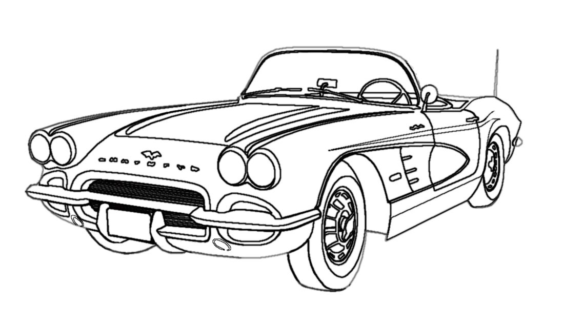Corvette Outline Car drawings, Art cars, Cars coloring pages