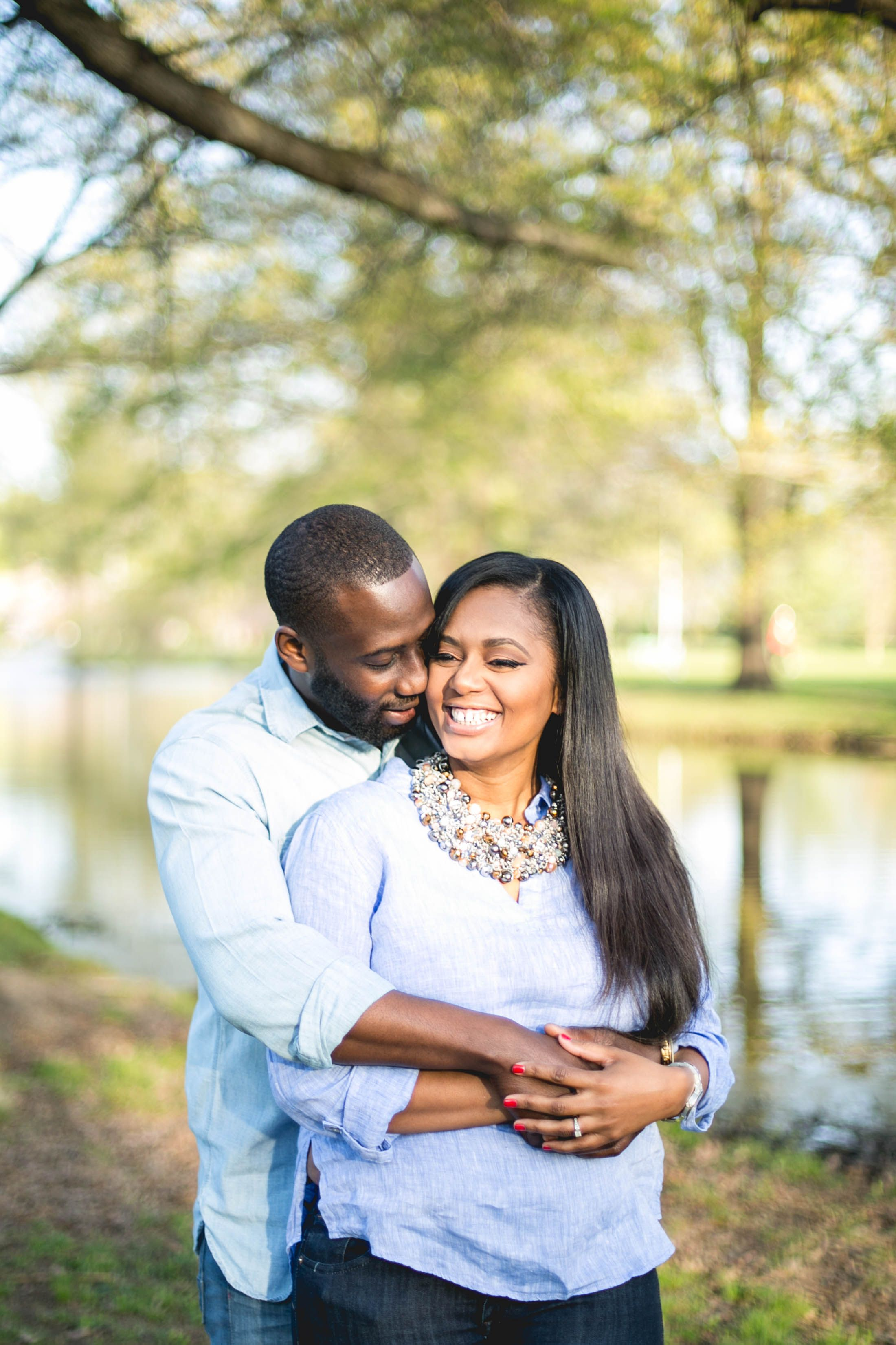 These two got married at a beautiful estate that had a lake, so for their…