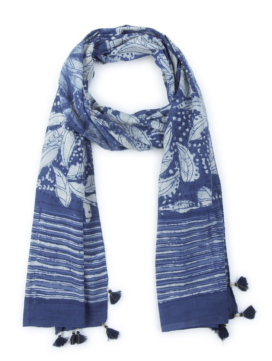 607d0f8b370 Buy Indigo White Cotton Block Printed Stole by Indian August Accessories  Scarves   Stoles The Crust Collection Dabu Hand Natural Dyed Tunics  Palazzos More ...