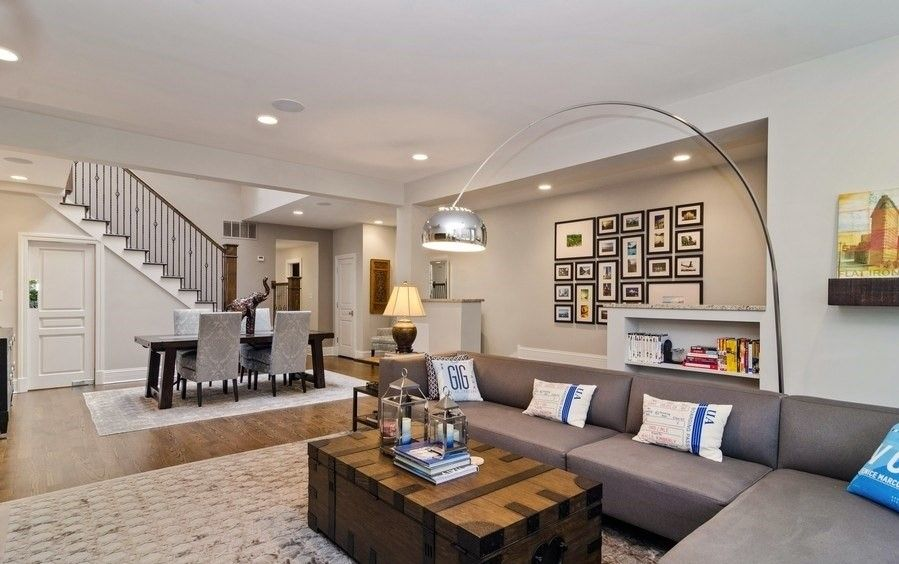 Modern And Contemporary Open Concept Living Room And Dining Room