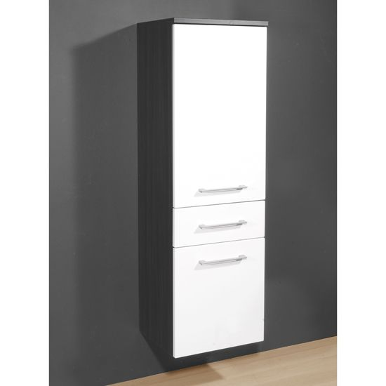 Juliana Tall Bathroom Cabinet In Carbon Ash Gloss White 229 95 Bathroomcabinet Furnitureinfashion Bathroom Cabinets Bathroom Cabinets With Lights Cabinet