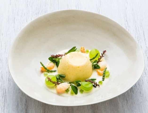 Twice baked goats cheese soufflé, beach herbs | Canapes ...