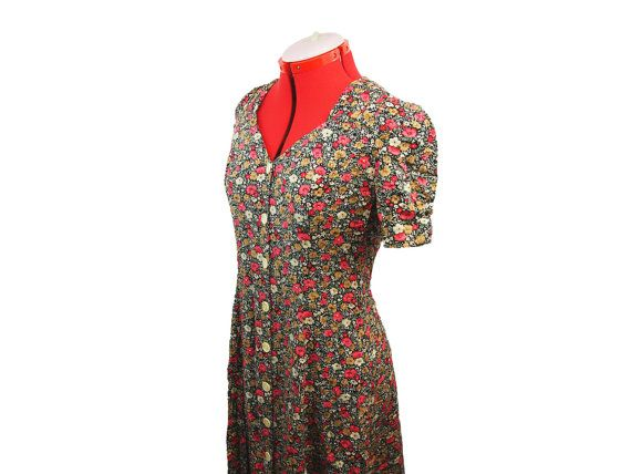 a8549f800ca Red Yellow Black Floral Dress Vintage Womens Clothing Long Dress Black  Dress 90s Vintage Clothing Short Sleeve Dress 90s Dress Vintage Dress