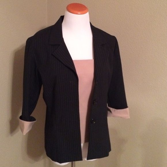 Camisole and blazer Beige camisole with black pin striped blazer with matching cuffs. Suits Us Jackets & Coats Blazers