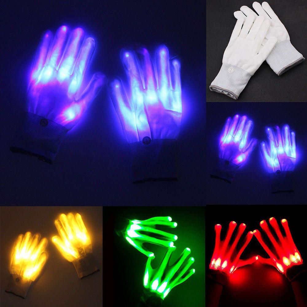 New LED Flashing Finger Light Up Gloves Lighting Xmas Rave Party Dance Skeleton