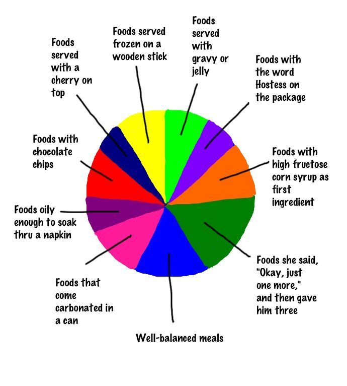 Pie Chart Of A Kids Diet While Staying At Grandmas House Humor