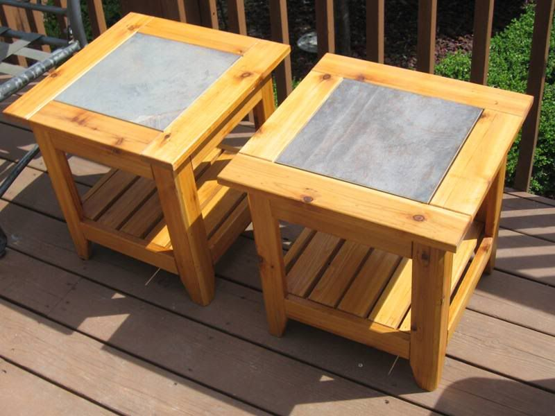 Perfect Ceramic Tile Table Tops Projects | Kevin Also Made This Pair Of Cedar, Tile