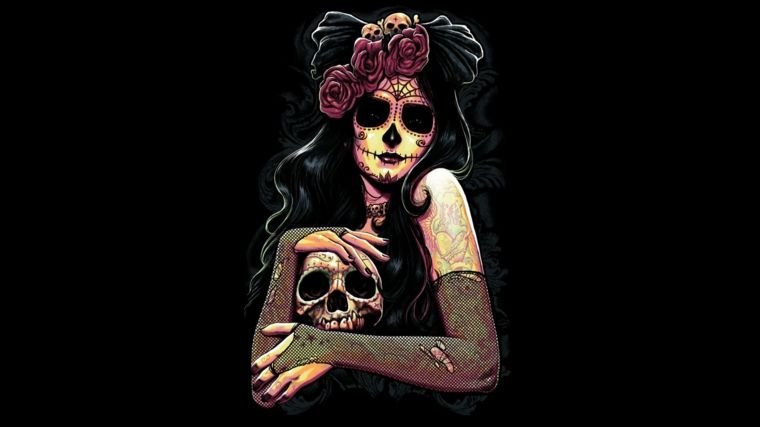 Immagini teschi messicani una giovane donna con un for Immagini teschi disegnati