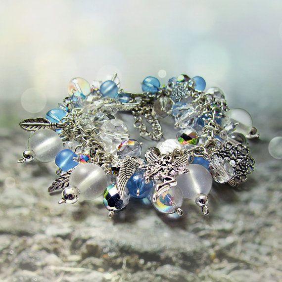 Crystal cluster bracelet, Winter charm bracelet in blue and white, Fantasy silver charm jewelry Aurora borealis bracelet Ice maiden bracelet by JantraK