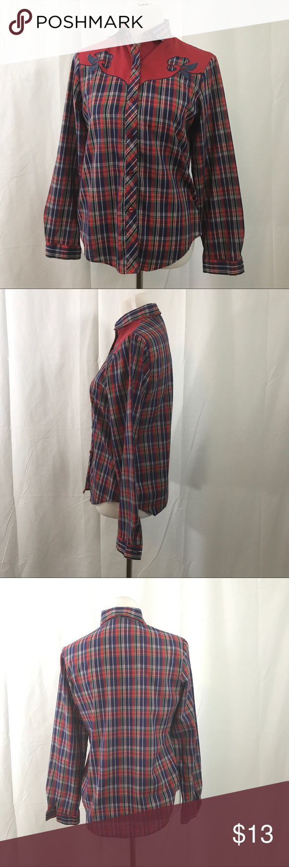Vintage Red and Blue Western Style Button Down S EUC  great 80s style western inspired shirt. So cute perfect with your jeans or jean shorts. Label Koret City Blues Bust 38 Length 27 ModCloth Tops Button Down Shirts