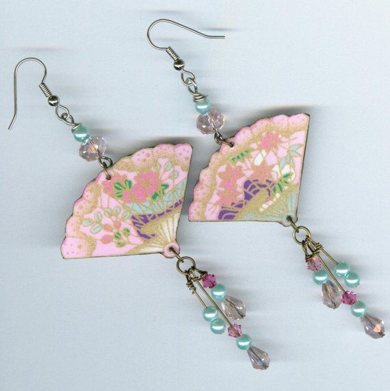 Origami Paper Fan Earrings pastel pink turquoise Asian Japanese style